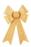 Christmas bow golden color isolated on white background Royalty Free Stock Photos