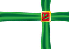 Christmas bow green. With holly Royalty Free Stock Images
