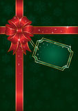Christmas bow on green background with snowflakes. Bow and ribbon wrapping paper sheet, illustration Royalty Free Stock Image