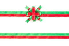 Christmas bow red, green and gold color isolated on white backgr Stock Image