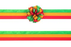 Christmas bow red, green and gold color isolated on white backgr Stock Photography