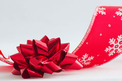 Christmas bow and ribbon Stock Photos