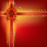 Christmas bow and stars red background Stock Photo