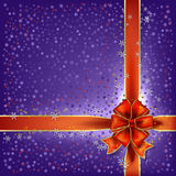 Christmas bow and stars vector background Royalty Free Stock Images