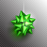 Christmas bow transparent. Green Christmas Bow on transparent background with shadow and glow. Ready for your design. Vector Illustration Stock Image