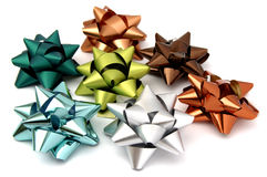 Christmas bows. Of several colors for Christmas gifts Royalty Free Stock Photo