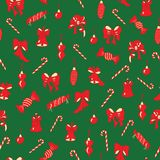 Christmas bows, bells, candies seamless pattern. stock illustration