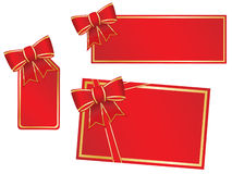 Christmas bows and gift cards Royalty Free Stock Photography