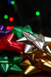 Christmas bows and lights Royalty Free Stock Images