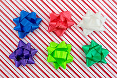Christmas box with assorted bows Stock Photos