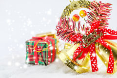 christmas box and bells merry christmas Stock Photo