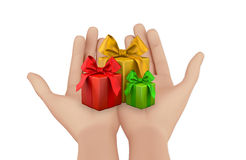 Christmas box 3d render. Hand and christmas box 3d render Stock Photos