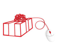 Christmas box depicted with computer mouse cable Stock Images