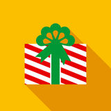 Christmas Box with Gift in Flat Style Royalty Free Stock Image