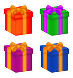Christmas box, gift icon set, symbol, design. vector illustration isolated on white background. Royalty Free Stock Images