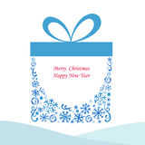 Christmas box gift. Watercolor painting of gift with a bow vector,icon Royalty Free Stock Photography
