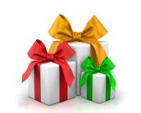 Christmas box. Gifts 3d render vector illustration