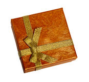 Christmas box with gold ribbon Stock Photography