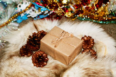 Christmas box. The handmade new years gift Stock Photography