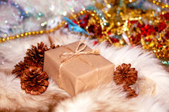 Christmas box. The handmade new years gift Royalty Free Stock Photo