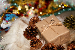 Christmas box. The handmade new years gift Royalty Free Stock Image