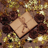 Christmas box. The handmade new years gift Royalty Free Stock Images