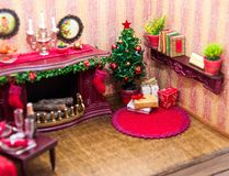 Christmas box, miniature royalty free stock photo