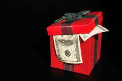 Christmas box with money Royalty Free Stock Photography