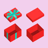 Christmas Box. Red open box for gifts. Christmas and flat design variant Stock Images