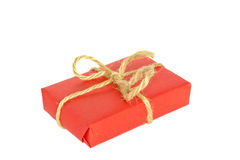 Christmas box. Tied with a rope isolated on white background Stock Photo