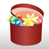 Christmas box with toys Royalty Free Stock Photography