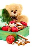 Christmas box with toys and cookies. Stock Image