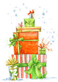 Christmas box. Watercolor gift box illustration. Background for New Year invitation card. Stock Photography