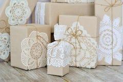 Christmas box wrapping ideas Stock Photos