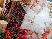 Christmas boxes as a background. Christmas boxes  as a background.The shot was made at the International Specialized Trade Fairs GIFTS EXPO. AUTUMN 2014 Stock Photos