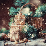 Christmas Boxes, Coniferous, Pine Cones, Nuts. Drawn Snow Royalty Free Stock Image