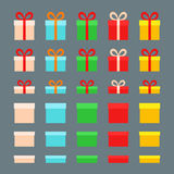 Christmas Boxes. For gifts in different colors. Flat design Stock Image