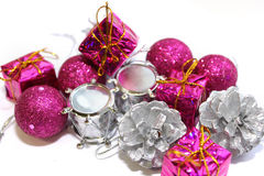 Christmas boxes with gifts. Holiday, pink Stock Photo