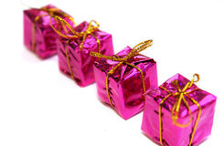 Christmas boxes with gifts. Holiday, pink Stock Image