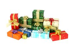Christmas boxes gifts isolated on white Stock Photos