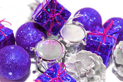 Christmas boxes with gifts. Christmas, boxes, gifts, purple christmas balls Stock Photography