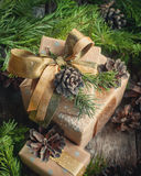 Christmas Boxes and Natural Decorations Stock Images