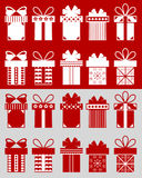 Christmas boxes with patterns. Christmas boxes: boxes isolated on the red background and cut boxes on the grey background. Set of 10 Christmas boxes with Stock Photos