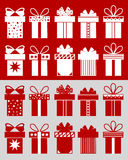 Christmas boxes with patterns. Christmas boxes: boxes isolated on the red background and cut boxes on the grey background. Set of 10 Christmas boxes with Stock Image