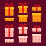 Christmas Boxes. For presents with stars. Gold and white gifts. Flat design Royalty Free Stock Photography