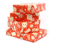 Christmas boxes. Some Christmas boxes with gifts Stock Photo