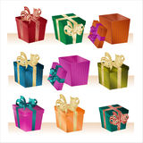 Christmas boxes - vector Stock Images