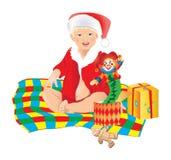 Christmas boy. The child unpacks gifts . Vector illustration Royalty Free Stock Photo