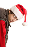 Christmas boy bending over Stock Images