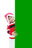 Christmas boy with empty banner Stock Photos